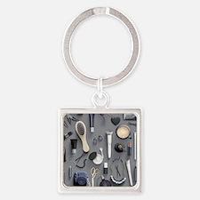 Black Vanity Table Square Keychain