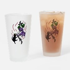 Witch and Cat Dancing4 Drinking Glass