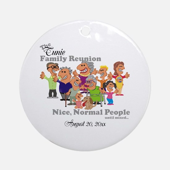 Personalized Family Reunion Funny Cartoon Round Or