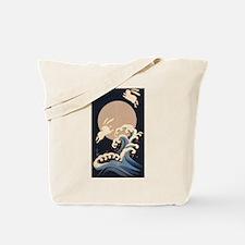 FULL MOON, WAVE, RABBITS Tote Bag