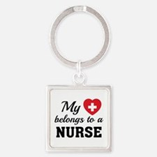 Heart Belongs Nurse Square Keychain
