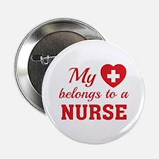 "Heart Belongs Nurse 2.25"" Button"