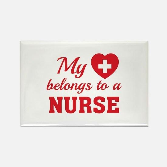 Heart Belongs Nurse Rectangle Magnet