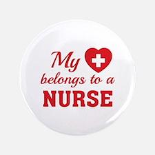 "Heart Belongs Nurse 3.5"" Button"