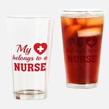 Heart Belongs Nurse Drinking Glass