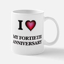 I Love My Fortieth Anniversary Mugs