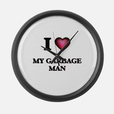 I Love My Garbage Man Large Wall Clock