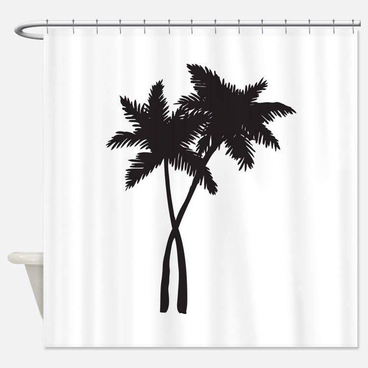 Black Palm Tree Shower Curtains