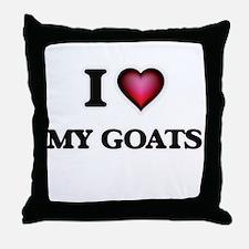 I Love My Goats Throw Pillow