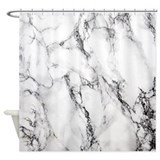 Black and white marble Shower Curtains