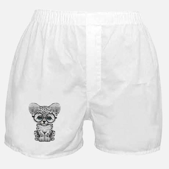 Cute Snow Leopard Cub Wearing Glasses Boxer Shorts