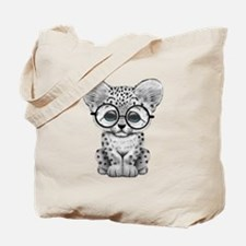 Cute Snow Leopard Cub Wearing Glasses Tote Bag
