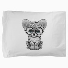 Cute Snow Leopard Cub Wearing Glasses Pillow Sham