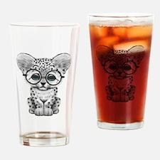 Cute Snow Leopard Cub Wearing Glasses Drinking Gla