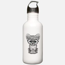 Cute Snow Leopard Cub Wearing Glasses Water Bottle