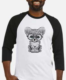 Cute Snow Leopard Cub Wearing Glasses Baseball Jer