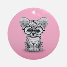 Cute Snow Leopard Cub Wearing Glasses Round Orname