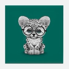 Cute Snow Leopard Cub Wearing Glasses Tile Coaster