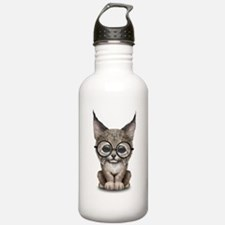 Cute Baby Lynx Cub Wearing Glasses Water Bottle