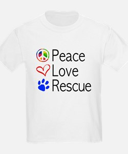 Kids Peace Love Rescue T-Shirt