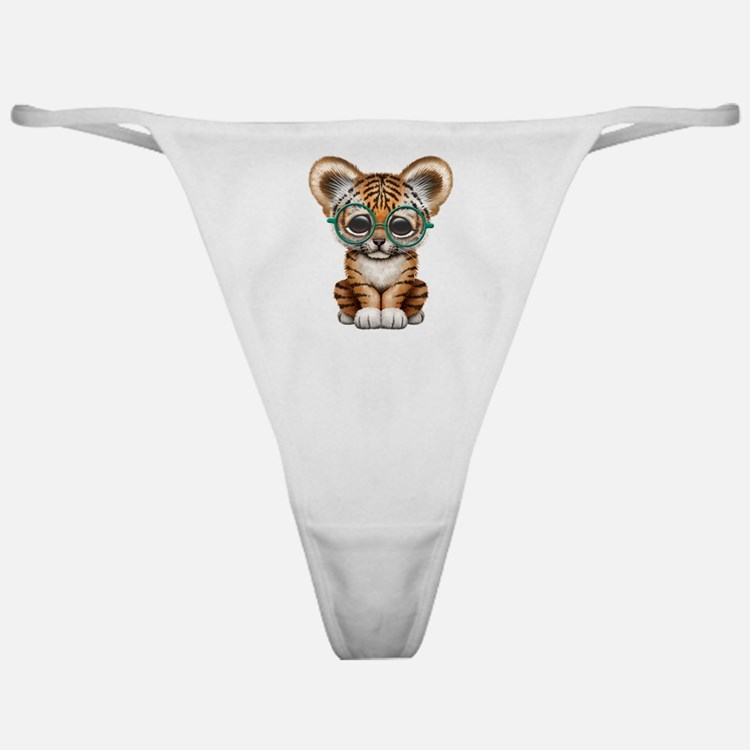 Cute Baby Tiger Cub Wearing Glasses Classic Thong