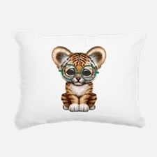 Cute Baby Tiger Cub Wearing Glasses Rectangular Ca