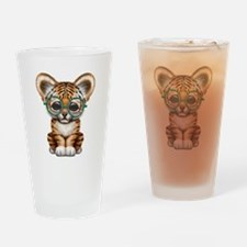 Cute Baby Tiger Cub Wearing Glasses Drinking Glass