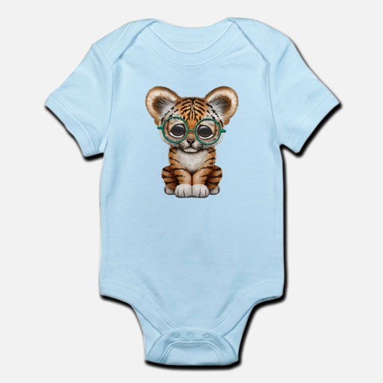 Cute Baby Tiger Cub Wearing Glasses Body Suit