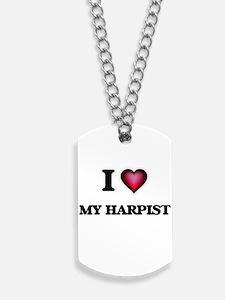 I Love My Harpist Dog Tags