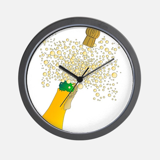 Bubbly Bottle And Cork Wall Clock
