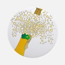 Bubbly Bottle And Cork Round Ornament