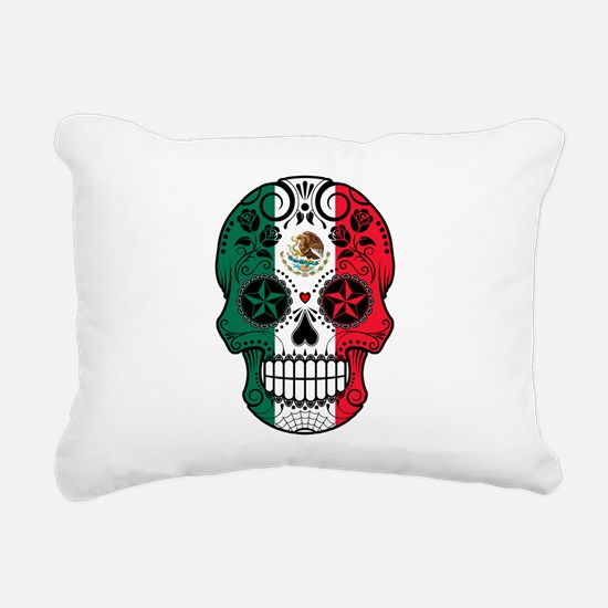 Mexican Sugar Skull with Roses Rectangular Canvas