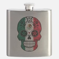 Mexican Sugar Skull with Roses Flask