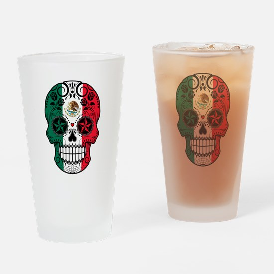 Mexican Sugar Skull with Roses Drinking Glass