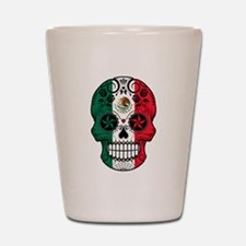 Mexican Sugar Skull with Roses Shot Glass