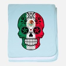 Mexican Sugar Skull with Roses baby blanket