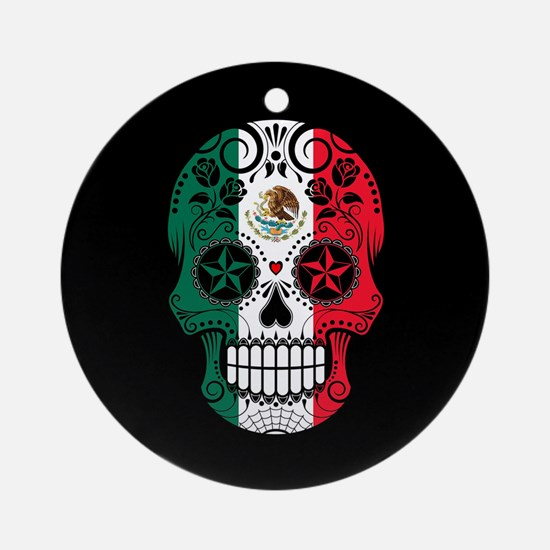 Mexican Sugar Skull with Roses Round Ornament