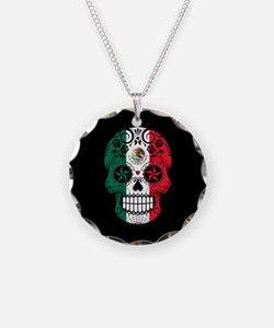 Mexican Sugar Skull with Roses Necklace Circle Cha