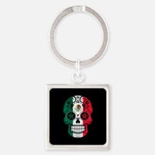 Mexican Sugar Skull with Roses Keychains
