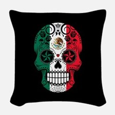 Mexican Sugar Skull with Roses Woven Throw Pillow
