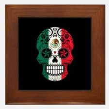 Mexican Sugar Skull with Roses Framed Tile