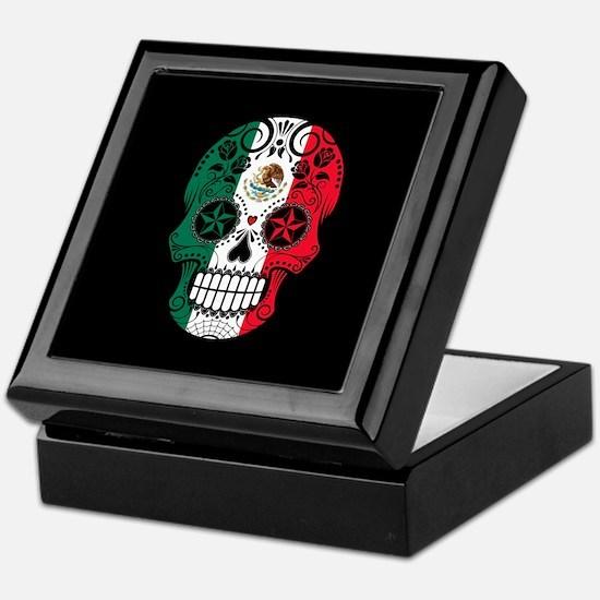 Mexican Sugar Skull with Roses Keepsake Box