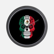 Mexican Sugar Skull with Roses Wall Clock