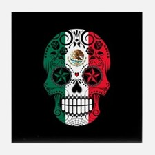 Mexican Sugar Skull with Roses Tile Coaster