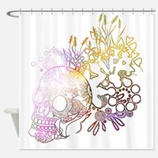 Cute Sugar skull cat Shower Curtain