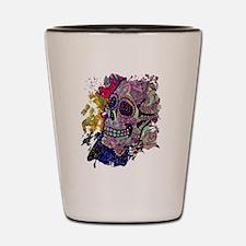 Cool Sugar skull cat Shot Glass