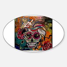 Cool Sugar skull cat Sticker (Oval)