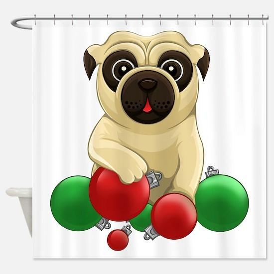 A Pug Christmas Shower Curtain