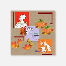 "Cute Happy sign language Square Sticker 3"" x 3"""