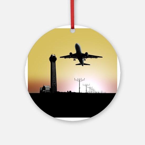 ATC: Air Traffic Control Tower & Plane Round Ornam